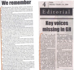 "University of Guelph-Humber ""Radix"" Newspaper, Dec. 2006.  Executive Team Editorials."