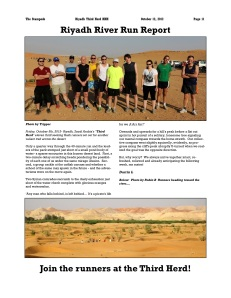 "Riyadh, Kingdom of Saudi Arabia: ""Stampede"" Magazine October 2012- Riyadh River Run Report."