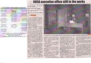 "University of Guelph-Humber ""Radix"" Newspaper, Sept. 2006.  Masthead & GHSA Executive Office Still in the Works."