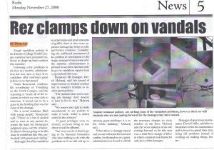 "University of Guelph-Humber ""Radix"" Newspaper, Fall 2007. Rez Clamps Down on Vandals."
