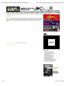 """SBC Skateboard:  Canada's Premiere Skateboarding Magazine""- DC Shoe Co. Professional Skateboard Team Demo at Ottawa's 'Legacy' SkatePark- 2010."