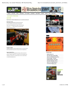 """SBC Skateboard:  Canada's Premiere Skateboarding Magazine""- Web Release News 2008."